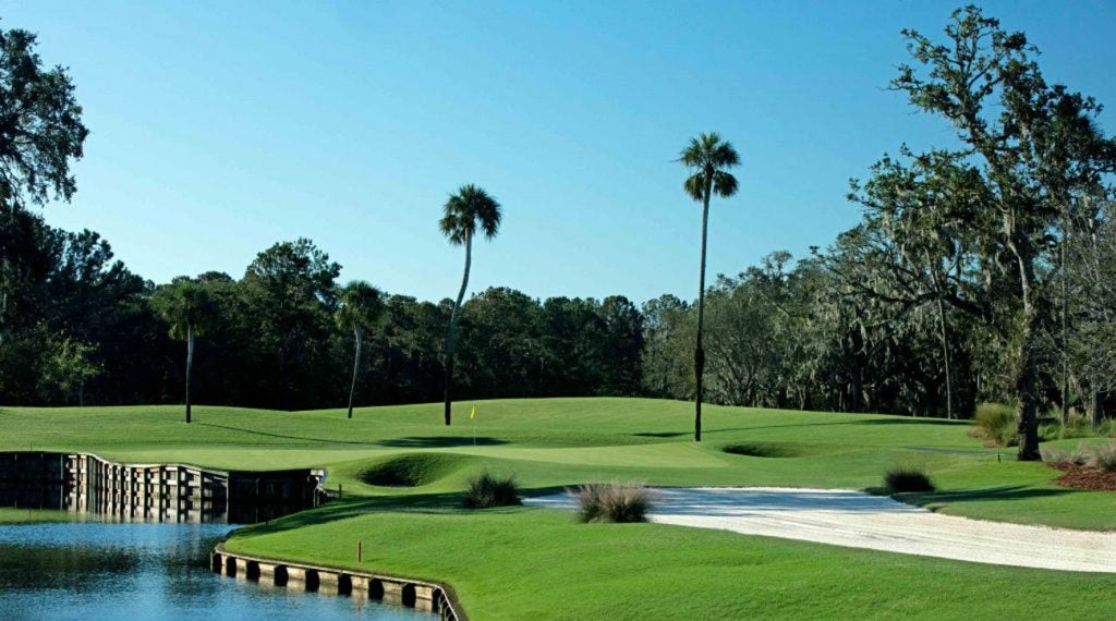 The par-3 13th hole on the Stadium Course at TPC Sawgrass.