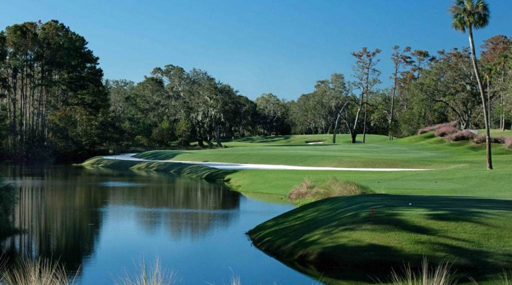 The par-4 14th hole on the Stadium Course at TPC Sawgrass.