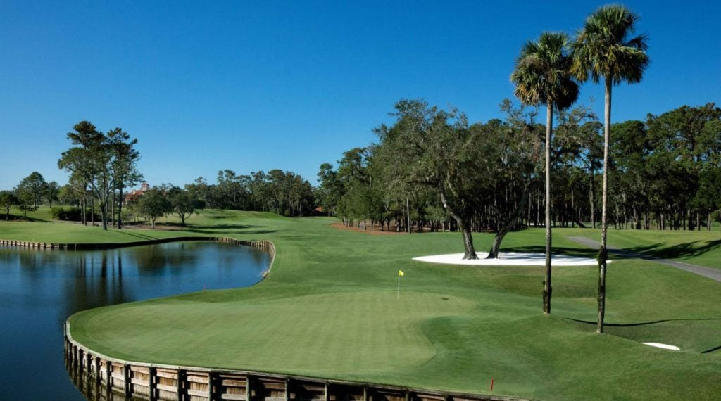 The par-5 16th hole on the Stadium Course at TPC Sawgrass.