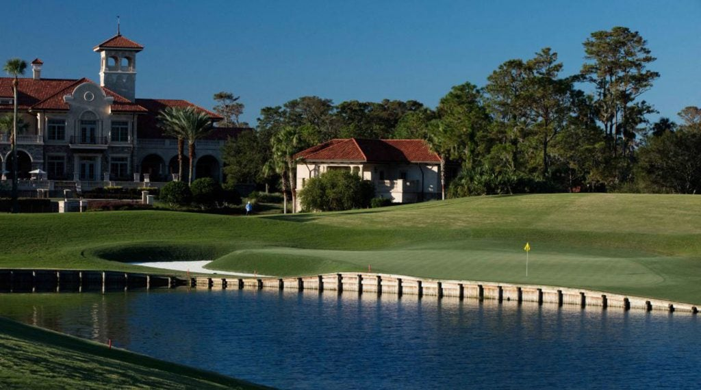 The par-4 18th hole on the Stadium Course at TPC Sawgrass.
