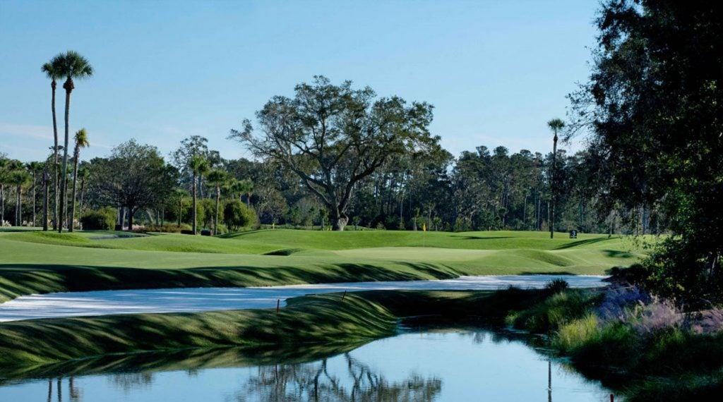 The par-5 second hole, the first par-5 on the Stadium Course at TPC Sawgrass.