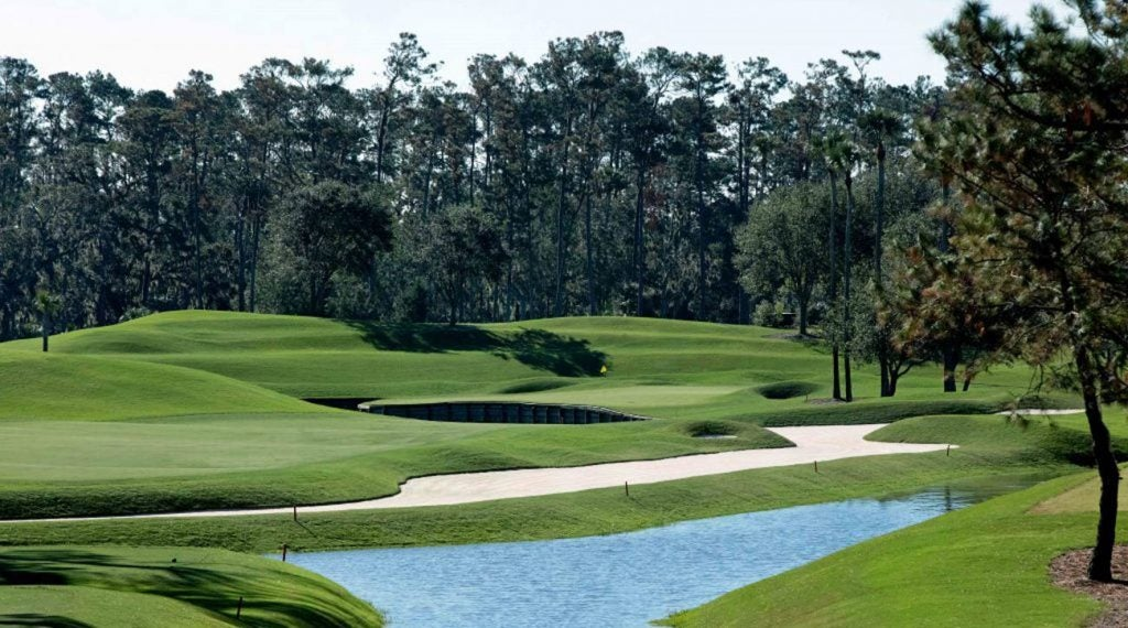 The par-4 fourth hole on the Stadium Course at TPC Sawgrass.