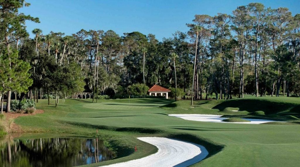 The par-4 fifth hole on the Stadium Course at TPC Sawgrass.