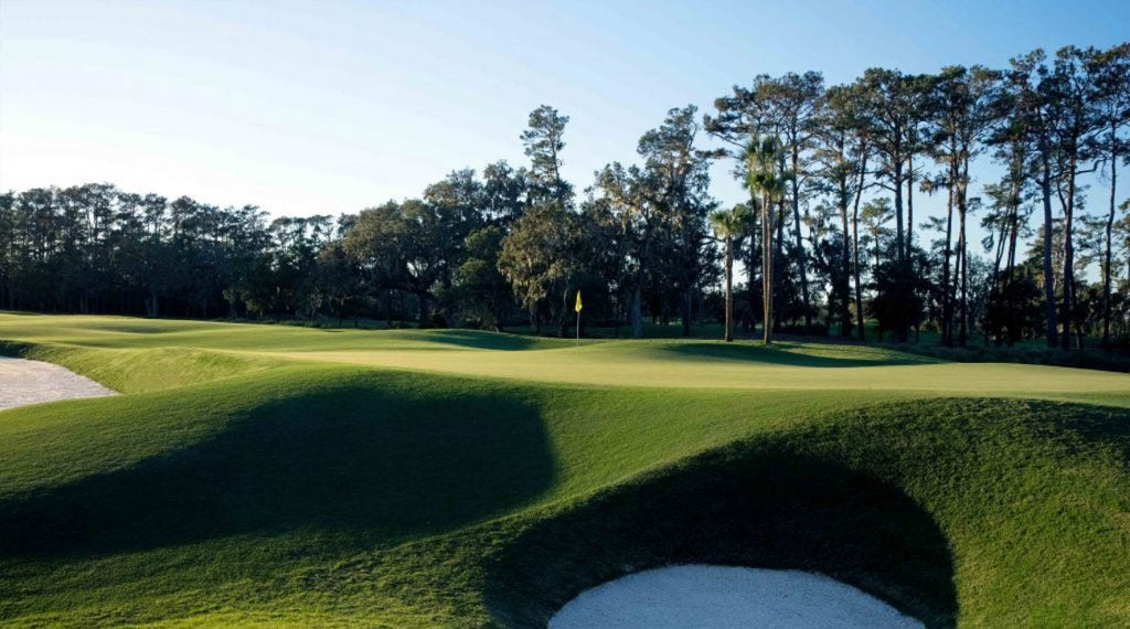 The par-4 seventh hole on the Stadium Course at TPC Sawgrass.