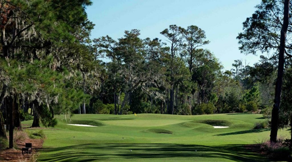 The par-3 eighth hole on the Stadium Course at TPC Sawgrass.
