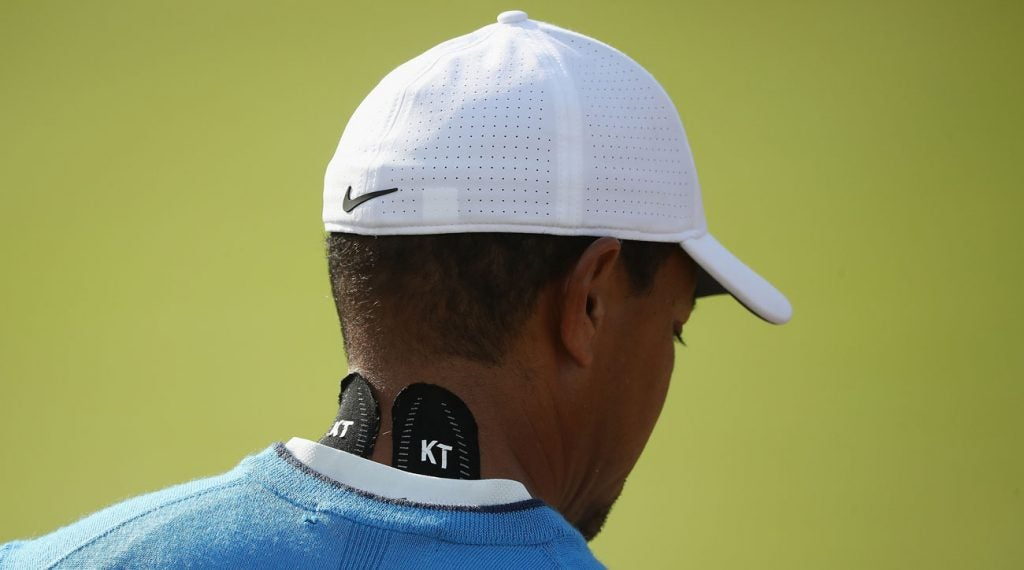 Tiger Woods had KT Tape on his neck during the 2018 British Open.