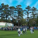 A walk up the first fairway at Augusta National Golf Club.