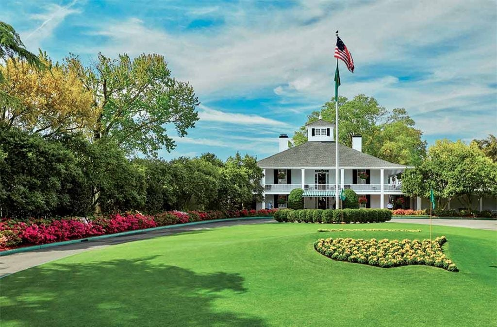 A view of the clubhouse after driving down Magnolia Lane at Augusta National.