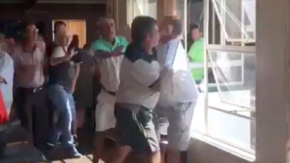 A bar fight at Lake Club Benoni in South Africa was caught on camera