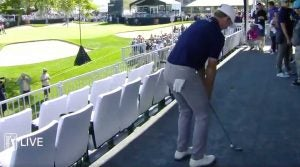 Brandt Snedeker plays from the hospitality tent at the Arnold Palmer Invitational.