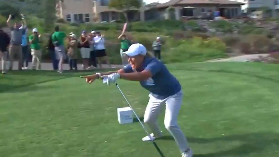 Cristie Kerr celebrates her hole-in-one at the 2019 Kia Classic