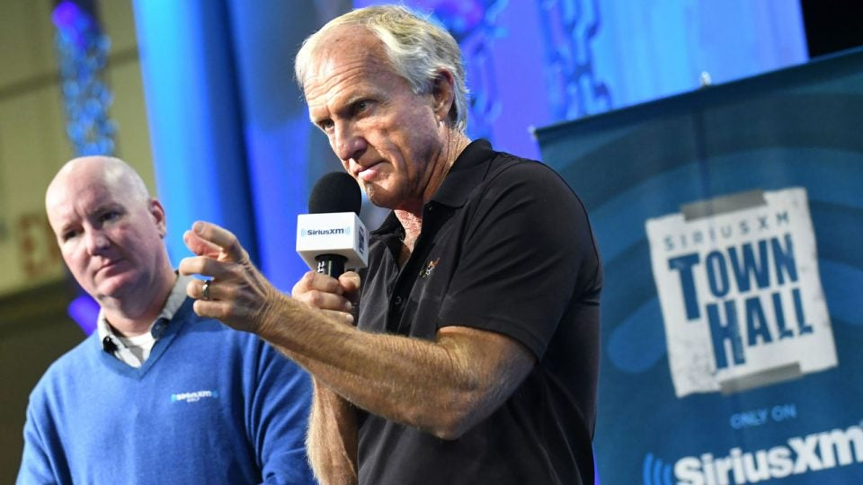 Greg Norman speaks during an event at the 2019 PGA Show