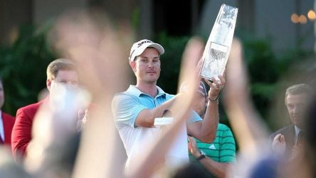 Henrik Stenson lifts the Players Championship trophy at TPC Sawgrass in 2009.