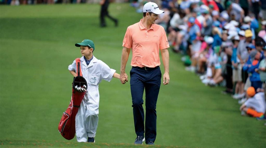 Justin Rose and his son, Leo, at the 2018 Masters Par-3 Contest.