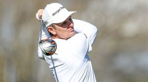 Justin Rose watches a tee shot during a practice round at Bay Hill.