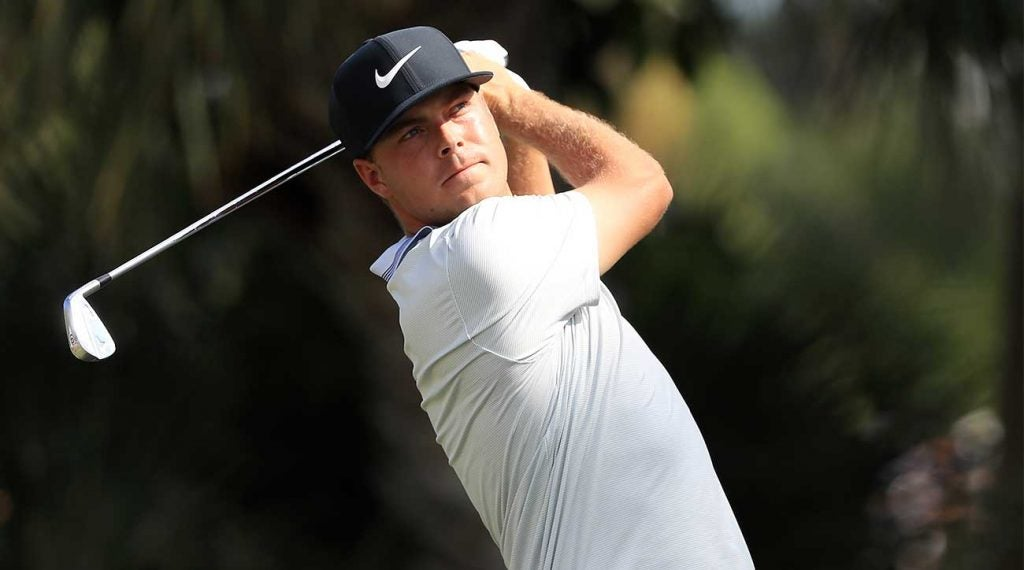 Keith Mitchell watches a shot during the final round of the Honda Classic.