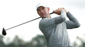 Lucas Glover hits driver off the tee.
