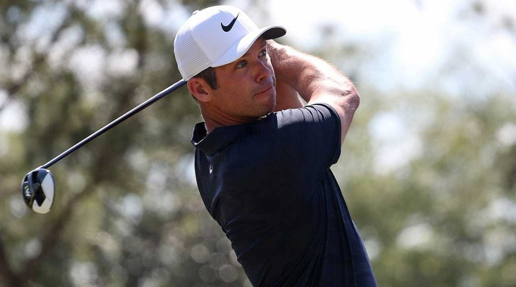Paul Casey watches a shot during the final round of the Valspar Championship.