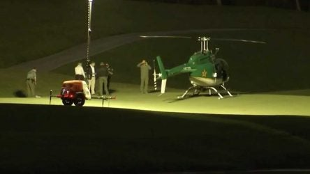 The helicopter had to land at Dye's Valley Course at TPC Sawgrass after mechanical problems.