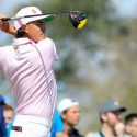 Rickie Fowler tees off at the Arnold Palmer Invitational.