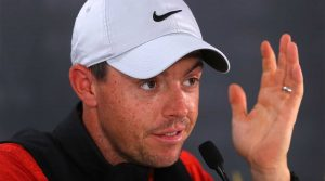 Rory McIlroy talks to the press at the WGC Match Play.