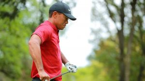 Tiger Woods walks off the green at the WGC-Mexico Championship.