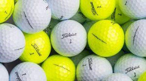 Yellow Titleist Pro V1 and Pro V1x golf balls