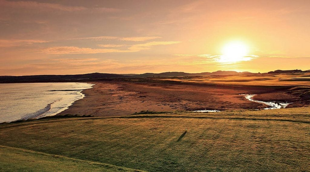 The opening tee shot at Machrihanish in Scotland.