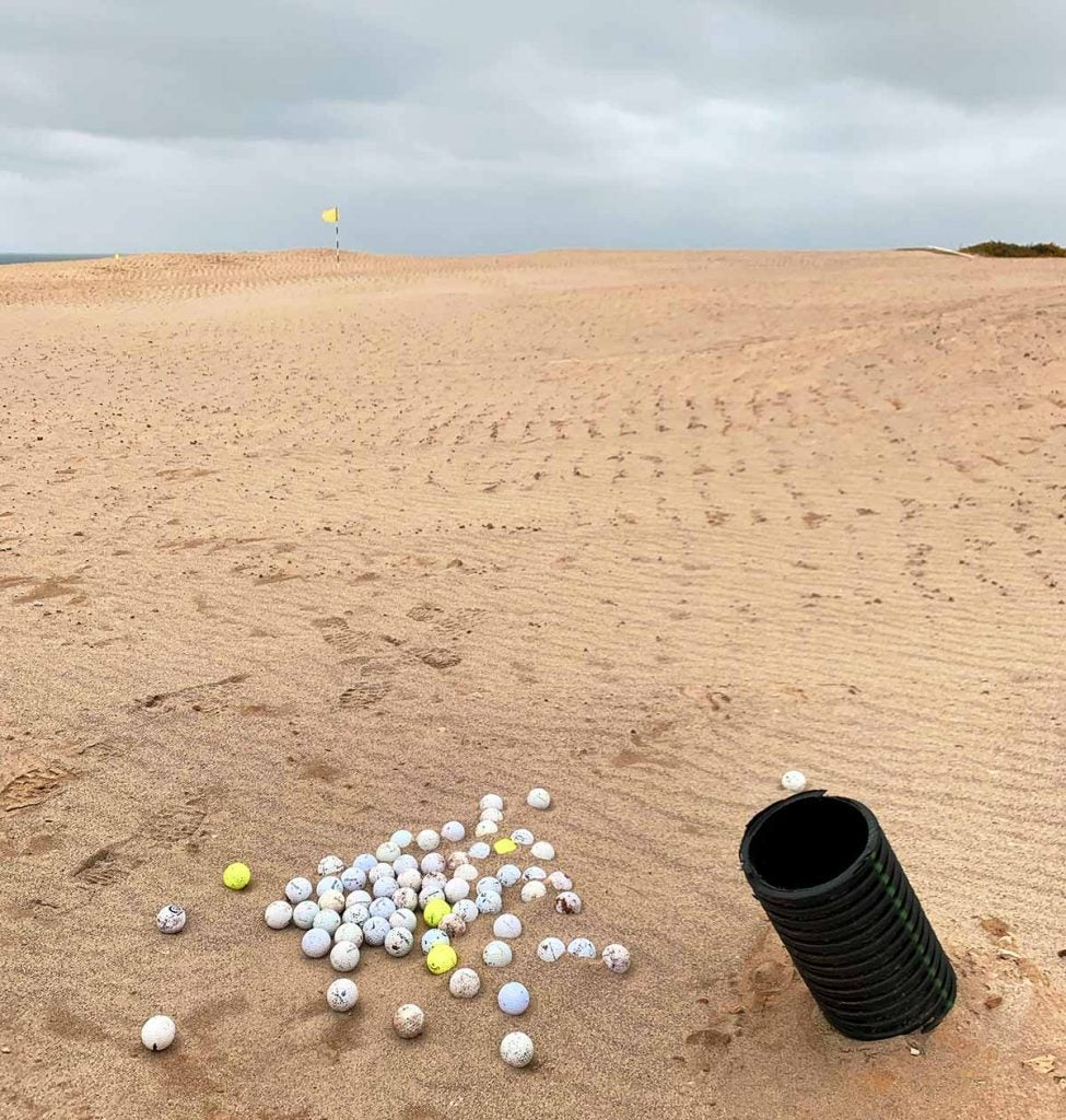 On the 16th green, there's a collection of golf balls that've been extracted from the beloved Bally Bandon Sheep Ranch.