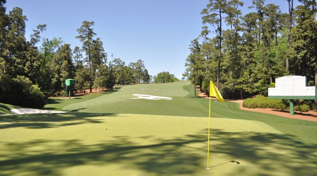 From behind the green on the par-4 10th hole at Augusta National.