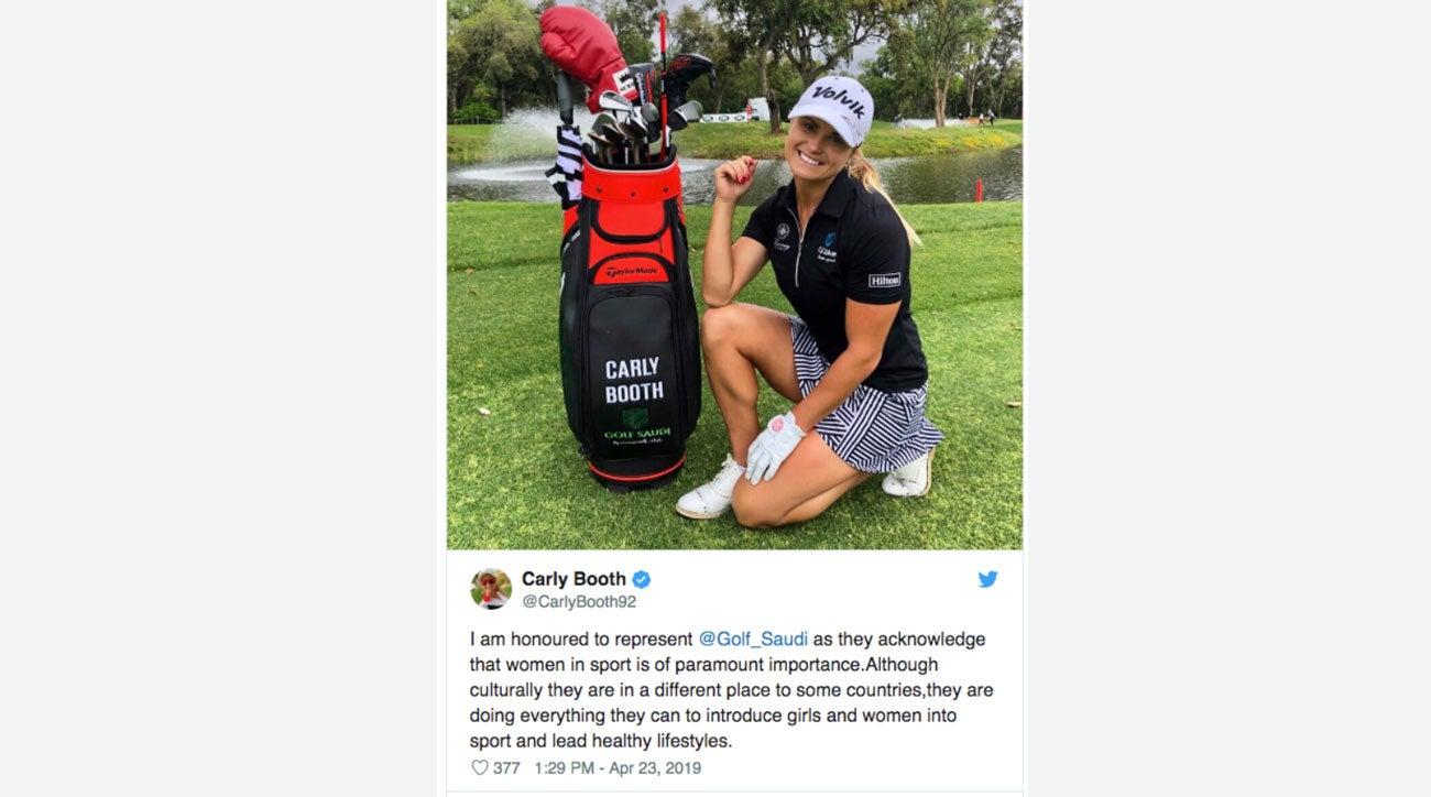 Carly Booth faces social media backlash for Golf Saudi sponsorship
