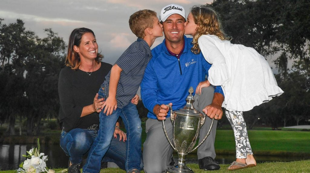 Charles Howell III with his family after winning the RSM Classic.