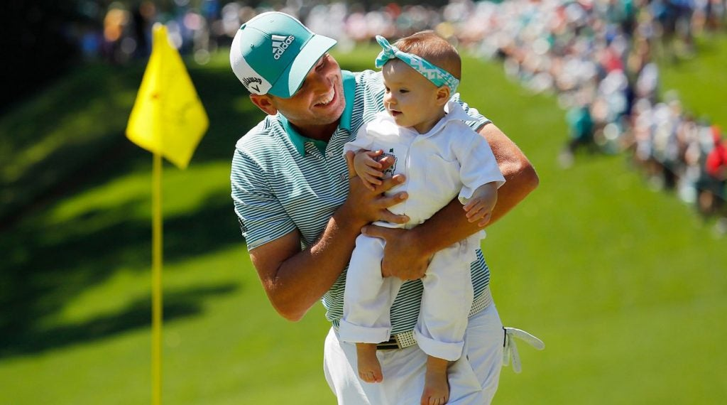 Sergio Garcia and his baby daughter.