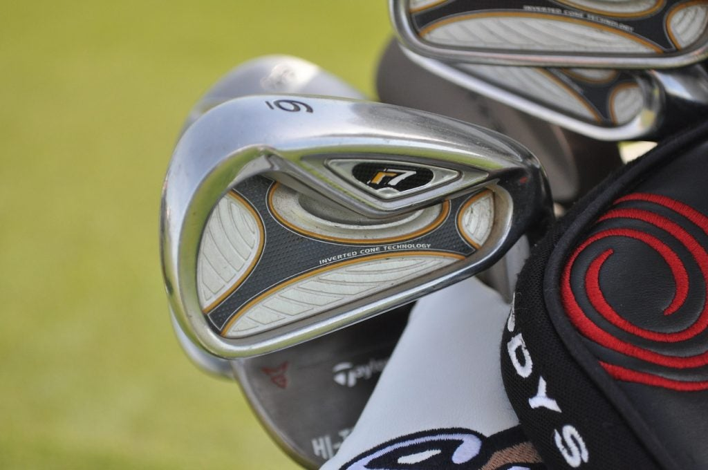 Blast from the past! Check out Kenny Perry's TaylorMade R7 irons. These sticks were first released in 2006.