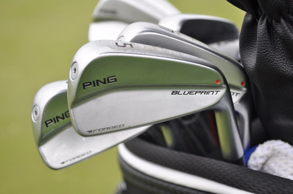 The latest sign Ping's Blueprint irons will eventually come to retail? Check out the red dot (which denotes lie angle on the retail version) on Brady Schnell's irons.
