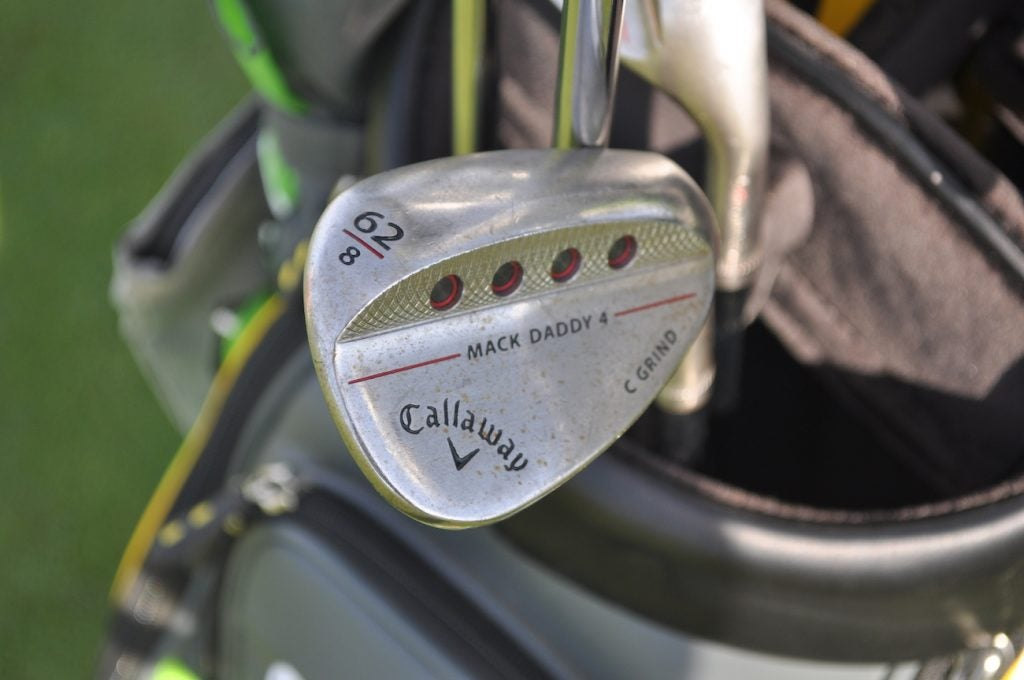 Ollie Schniederjans has a 62-degree Callaway Mack Daddy 4 wedge with 8 degrees of bounce.