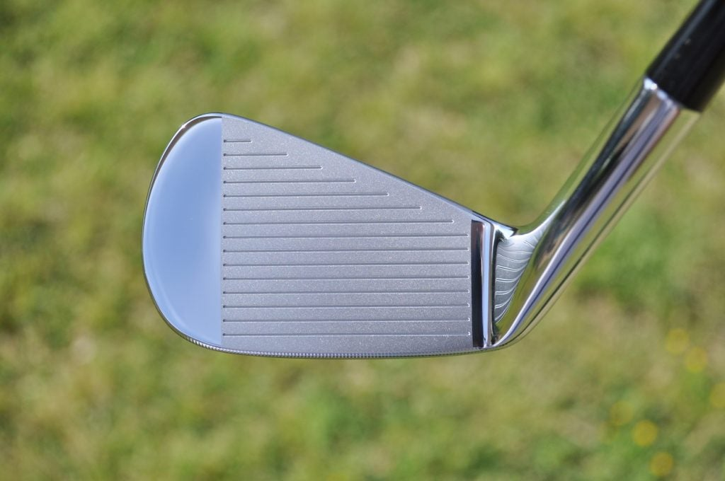 TaylorMade's P7TW irons from the face-on position.