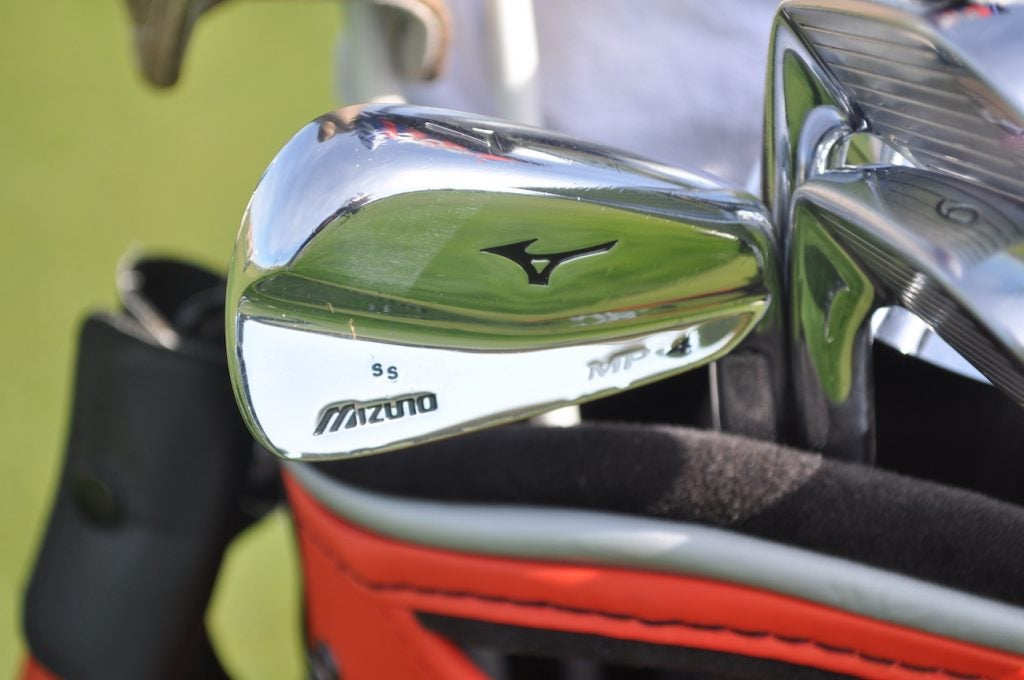 Texas native Shawn Stefani has his initials stamped in small print on the head of his Mizuno MP-4 irons.