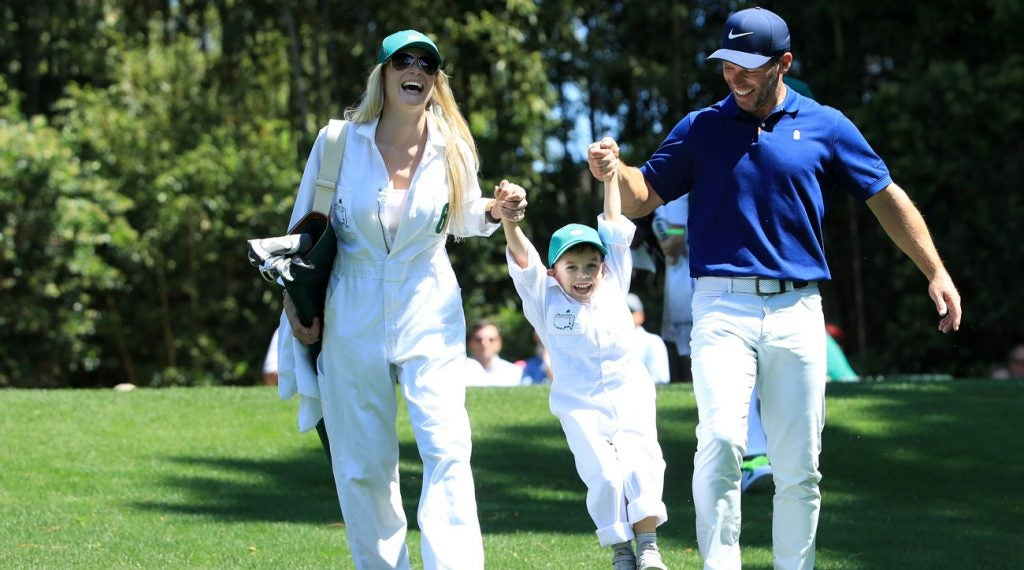Paul Casey, his wife, and son all seem to be having a great time at the Masters Par-3 Contest.