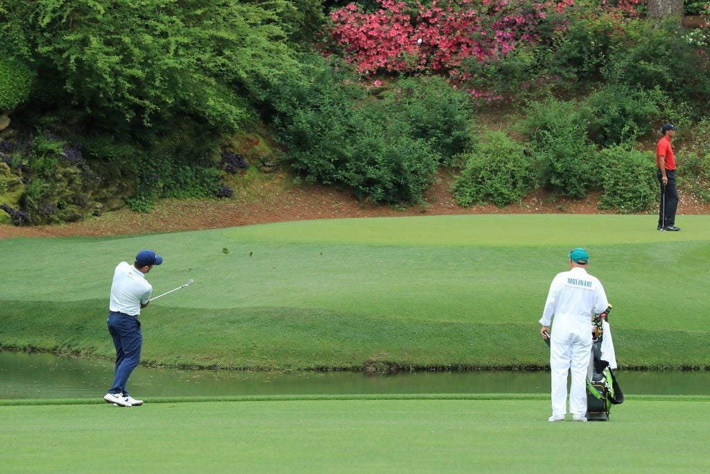 Francesco Molinari plays his third shot on the 12th hole during the final round of the Masters.