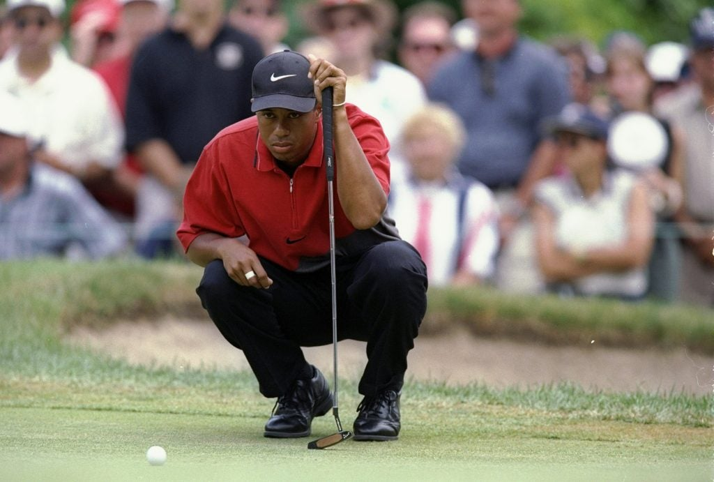 Scotty Cameron's Newport TeI3 putter was in the bag for Tiger Woods' first Masters win.