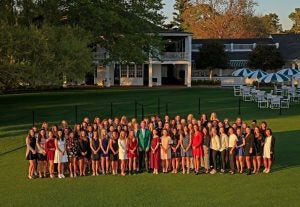 All 72 Augusta National Women's Amateur competitors pose ahead of the historic event.
