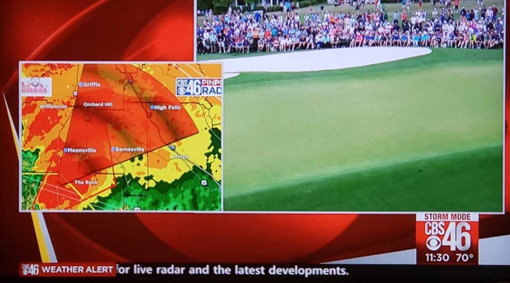 Masters TV Coverage weather tornadoes