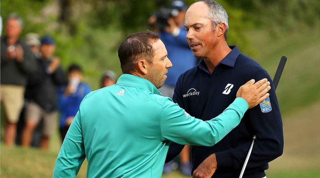 Sergio Garcia and Matt Kuchar, after their controversial match on Saturday.