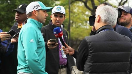 Sergio Garcia with reporters, 2019 Match Play