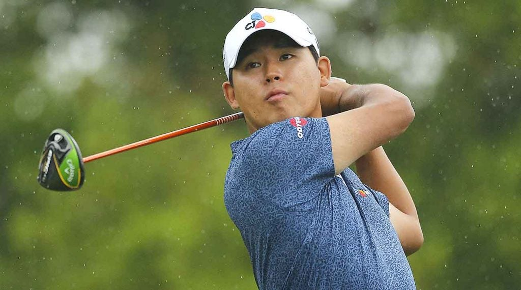 Si Woo Kim is looking to go wire-to-wire at the Valero.