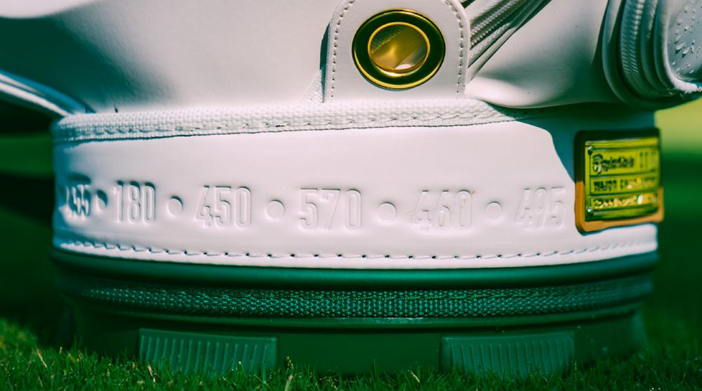 The yardage for every hole at Augusta National can be found along the base of the bag.