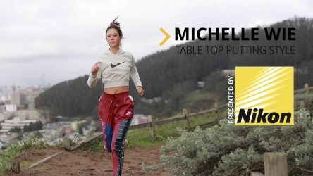 Picture of Michelle Wie running.
