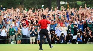 Tiger Woods, 18th green, 2019 Masters