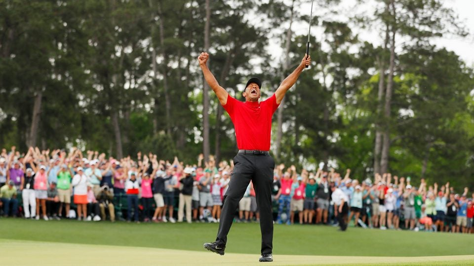 Tiger Woods celebrates after his fifth career Masters win.